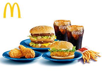巨无霸+麦辣鸡腿汉堡+小可乐(2杯)+小薯条+麦辣鸡翅